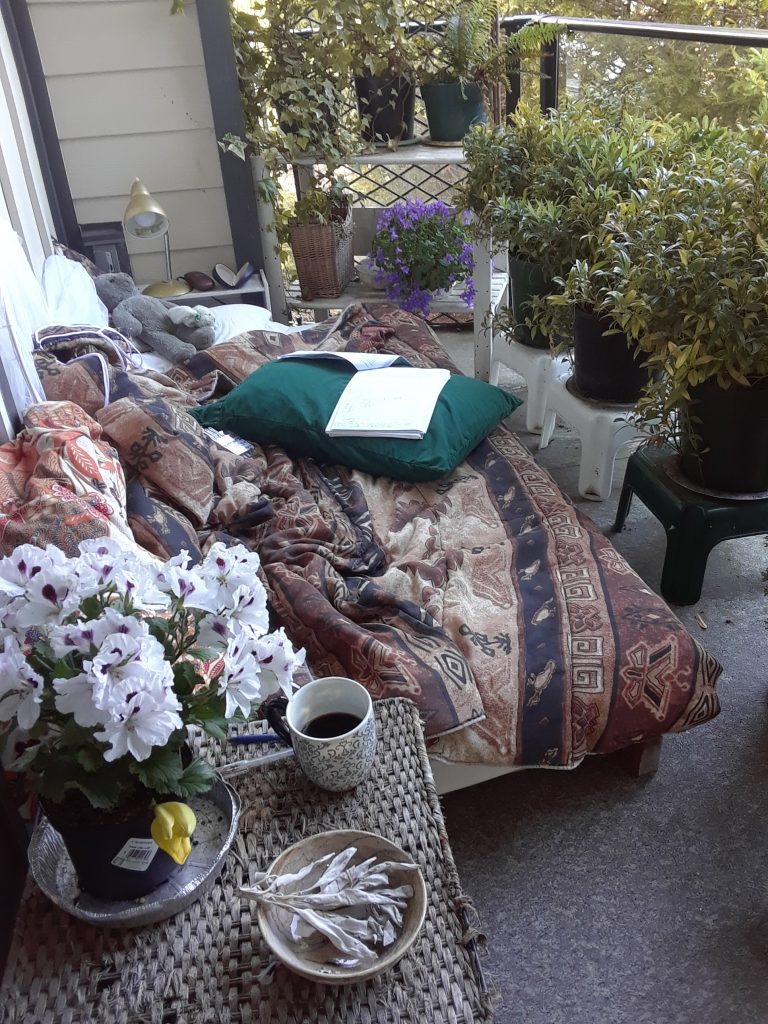 My deck and writing space..